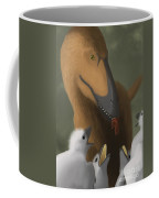 Deinonychus Dinosaur Feeding Its Young Coffee Mug by Michele Dessi