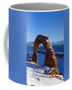 Delicate Arch In Snow Arches National Park Utah Coffee Mug