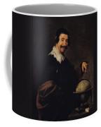 Democritus, Or The Man With A Globe Oil On Canvas Coffee Mug