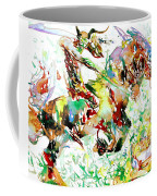 Demon Riding A Horse Rearing Up In Front Of A Two Headed Monk Coffee Mug
