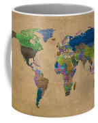 Denim Map Of The World Jeans Texture On Worn Canvas Paper Coffee Mug