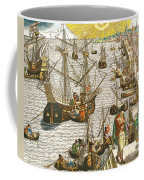 Departure From Lisbon For Brazil Coffee Mug by Theodore de Bry