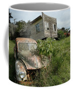 Derelict Morris And Old Truck On An Abandoned Farm Coffee Mug