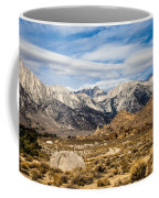 Desert View Of Majestic Mount Whitney Mountain Peaks With Clouds Coffee Mug