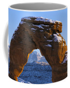 Detail Of Delicate Arch With Snow Arches National Park Utah Coffee Mug