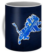 Detroit Lions Football Team Retro Logo License Plate Art Coffee Mug by Design Turnpike