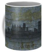 Detroit Michigan City Skyline Silhouette Distressed On Worn Peeling Wood Coffee Mug