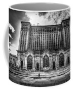 Detroit's Abandoned Michigan Central Train Station Depot In Black And White Coffee Mug