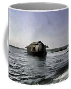 Digital Oil Painting - A Houseboat Moving Placidly Through A Coastal Lagoon Coffee Mug