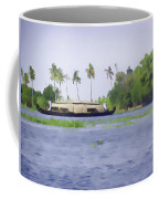 Digital Oil Painting - A Houseboat On Its Quiet Sojourn Through The Backwaters Of Allep Coffee Mug