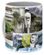 Digital Oil Painting - Statue Of The Merlion With A Banner Below The Statue And With Bu Coffee Mug