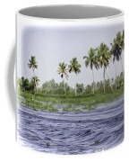 Digital Oil Painting - Water Rippling In The Coastal Lagoon Due To The Boat Coffee Mug