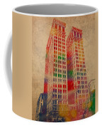 Dime Building Iconic Buildings Of Detroit Watercolor On Worn Canvas Series Number 1 Coffee Mug