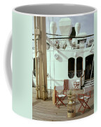 Directors Chairs In Front Of The Ship The Queen Coffee Mug