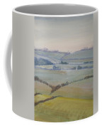 Distant Hills Fields And Hedges Painting Coffee Mug