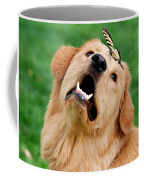 Dog And Butterfly Coffee Mug by Christina Rollo