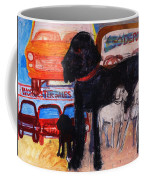 Dog At The Used Car Lot, Rex Gouache On Paper Coffee Mug