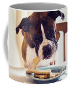 Dog Eating Biscuits At Table Coffee Mug