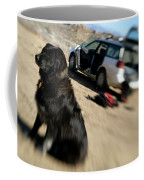 Dog In Front Of A Climbers Car Coffee Mug