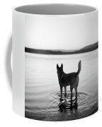 Dog Looking Over Abiquiu Reservior Coffee Mug