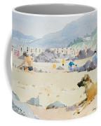 Dog On The Beach Woolacombe Coffee Mug by Lucy Willis