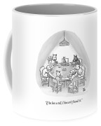 Dogs Playing Poker Refer Angrily To A Cat Who Coffee Mug by Paul Noth