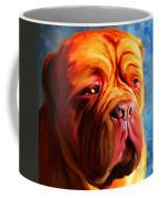 Vibrant Dogue De Bordeaux Painting On Blue Coffee Mug
