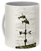 Dolphins Weathervane In Sepia Coffee Mug by Ben and Raisa Gertsberg