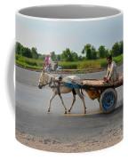 Donkey Cart Driver And Motorcycle On Pakistan Highway Coffee Mug