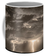 Double Lightning Strikes In Sepia Hdr Coffee Mug by James BO  Insogna