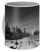 Downtown Chicago Train Tracks Black And White Coffee Mug