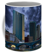 Downtown Grand Rapids Michigan By The Grand River With Gulls Coffee Mug