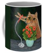 Dragonfly And Cat Coffee Mug