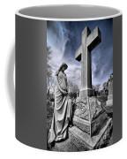 Dramatic Gravestone With Cross And Guardian Angel Coffee Mug
