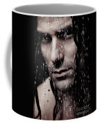 Dramatic Portrait Of Young Man Wet Face With Long Hair Coffee Mug
