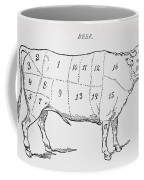 Drawing Of A Bullock Marked To Show Eighteen Different Cuts Of Meat Coffee Mug by English School