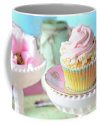 Dreamy Shabby Chic Cupcake Vintage Romantic Food And Floral Photography - Pink Teal Aqua Blue  Coffee Mug