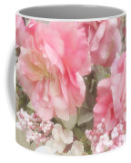 Dreamy Pink Roses, Shabby Chic Pink Roses - Romantic Roses Peonies Floral Decor Coffee Mug