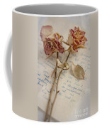 Dried Roses And Vintage Letter Coffee Mug