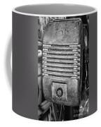 Drive In Movie Speaker In Black And White Coffee Mug