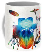 Drum Set Art - Color Fusion Drums - By Sharon Cummings Coffee Mug