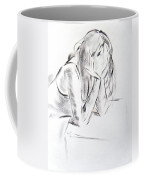 Dry Brush Painting Of A Young Womans Face Coffee Mug