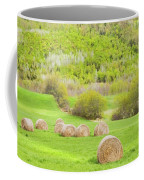 Dry Hay Bales In Spring Farm Field Maine Coffee Mug