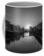 Dublin Sunrise - Liffey River In Black And White Coffee Mug