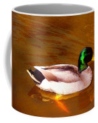 Duck Swimming On Golden Pond Coffee Mug