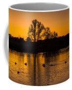 Ducks At Sunrise On Golden Lake Nature Fine Photography Print  Coffee Mug