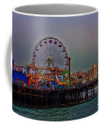 Dusk At The Santa Monica Pier Coffee Mug