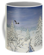Eagle On Winter Lanscape Coffee Mug