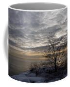 Early Morning Tree Silhouette On Silver Sky Coffee Mug
