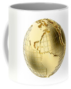 Earth In Gold Metal Isolated On White Coffee Mug